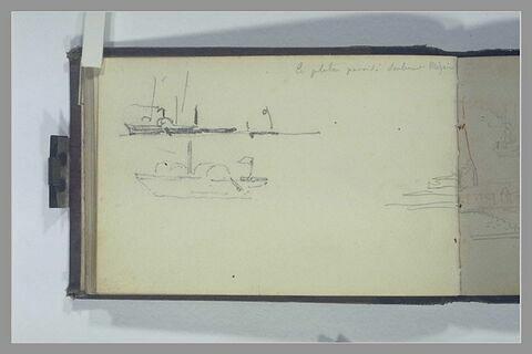 Deux bateaux à roues; note manuscrite ; rivage