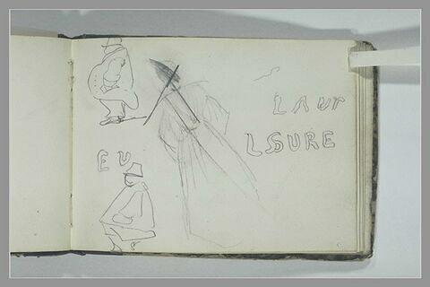 Inscription ; femme, debout, de dos ; deux caricatures d'hommes, de profil