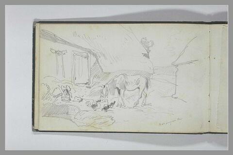 Un cheval broutant et trois volailles dans une cour à Varengeville