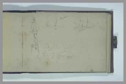 Le Cyclope, le Pluton, et d'autres navires ; détails d'un safran