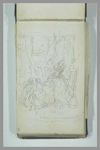 Scène historique avec une femme en robe du XVIIe siècle et des personnages