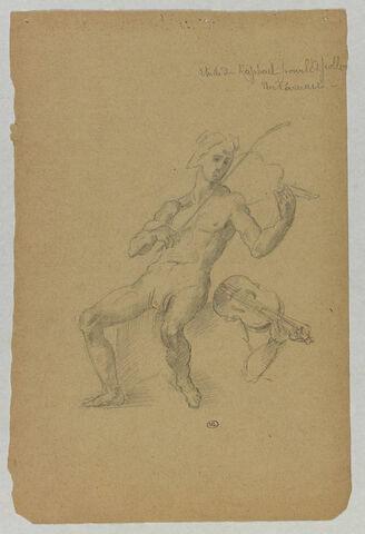 Apollon jouant de la viola (ou lira) da Braccio ; reprise (bras et viola)