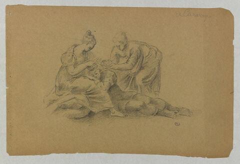 Dalila et sa servante coupant les cheveux de Samson endormi