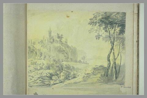 Paysage avec dans le fond une église et des ruines au sommet d'une colline