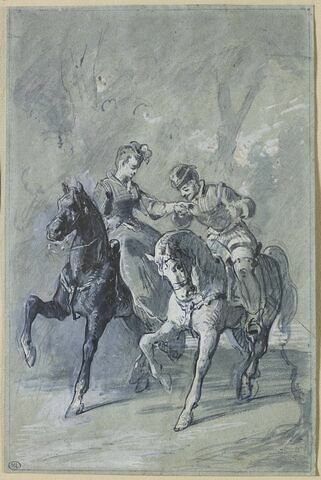 Couple à cheval dans un paysage
