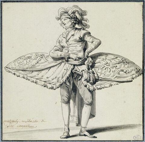 Quatre études de costumes de théâtre le chanteur Mazzanti au Teatro Argentino