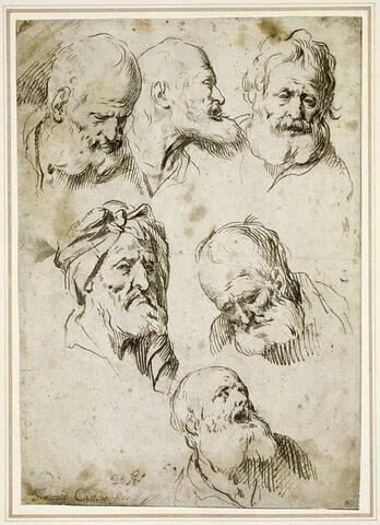 Six études de têtes de vieillards