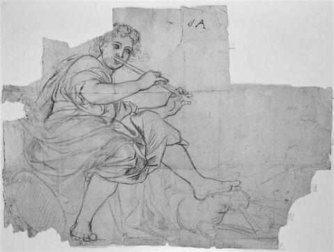 Femme drapée assise, jouant de la flûte