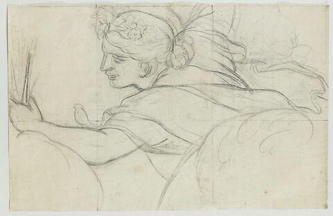 Femme drapée, volant vers la gauche