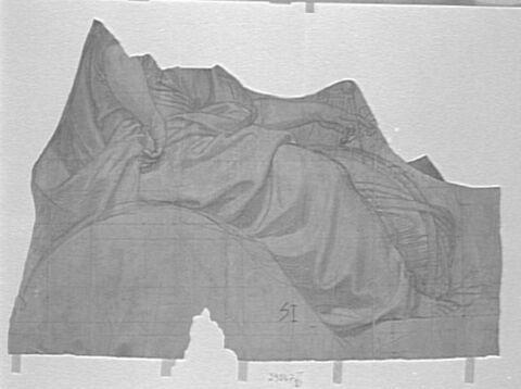 Femme drapée, assise, de profil (sans tête)