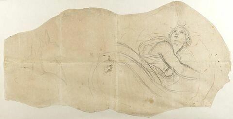 Femme drapée à mi-corps, un croissant de lune sur la tête