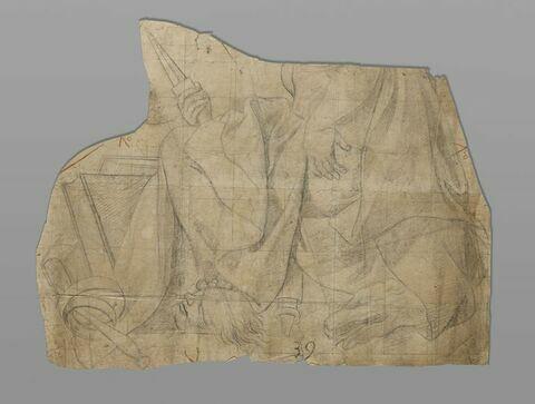 Femme drapée, assise (sans tête) tenant un poignard