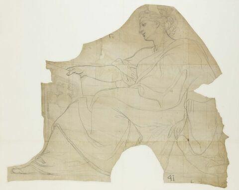 Femme, drapée, assise, de profil