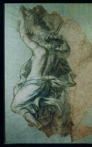 Femme drapée, vue presque de dos