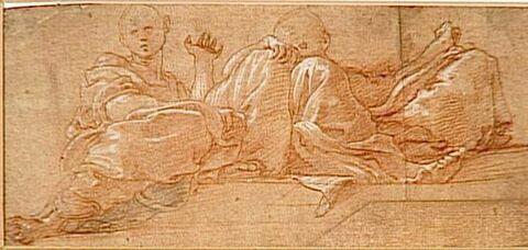 Deux hommes drapés, assis, vus de dessous