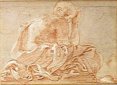 Homme à demi drapé, assis, tourné vers la droite, vu de dessous