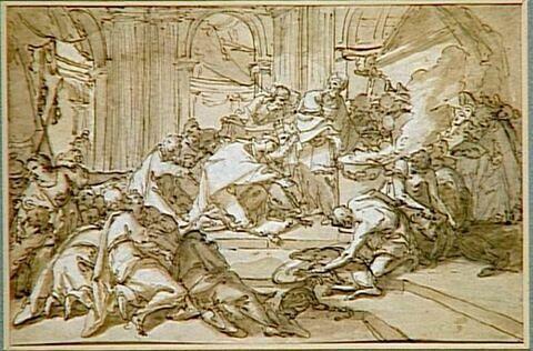 Scène d'offrande et de sacrifice dans un temple