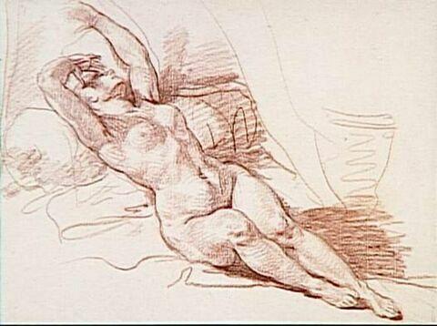 Femme nue allongée, adossée à un coussin, les bras levés
