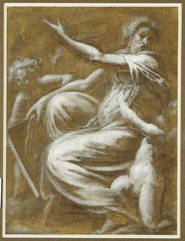 Prophète assis et deux anges