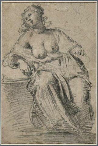 Femme assise en méditation, les seins nus : Madeleine ?