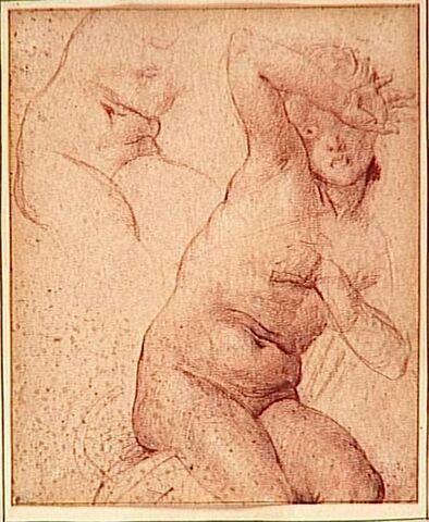 Femme nue se cachant le visage dans un geste de crainte