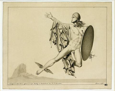 Persée, figure volante casquée, tenant un bouclier