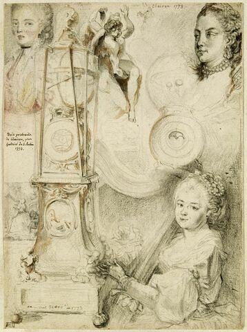 Feuille d'études : l'horloge astronomique de Castel, divers portraits ...