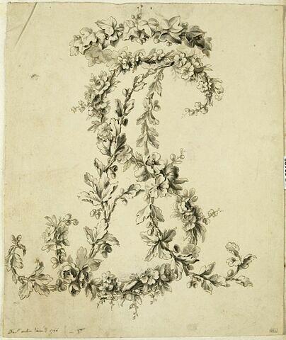 Branches de lierre, de chêne et d'aubépine formant le chiffre A. S.