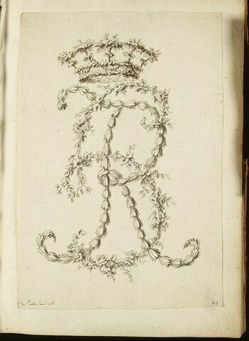 Branches de fleurs formant le chiffre H. R. (?), couronné de feuillage
