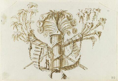 Trophée formé de deux carquois, faisceaux et plumes