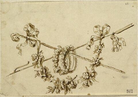 Guirlande, couronnes de fleurs, une houlette et une crosse croisées