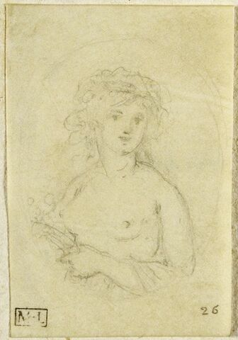 Femme, vue de face, les seins nus