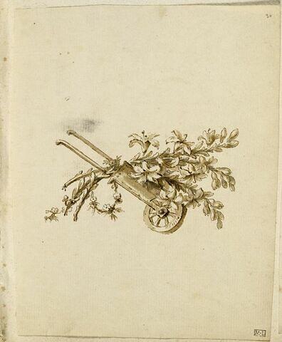 Brouette, branches de lys et couronne de fleurs
