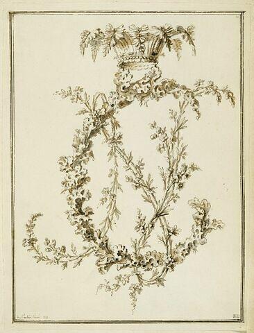 Lichen et branches de fleurs formant le chiffre N. C., couronné de feuillage