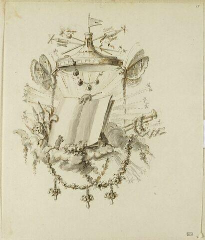 Cul-de-lampe : livre, souris sous un dais soutenu par des papillons atlantes