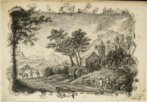 Paysage avec ruines, bâtiments antiques et ville dans le lointain