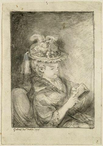 Jeune femme en buste coiffée d'un chapeau à plumes, assise, lisant