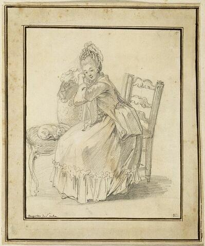 Portrait de jeune femme assise, auprès d'elle un chat sur une chaise