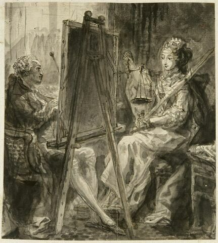 Gabriel de Saint Aubin peignant une allégorie de la Justice