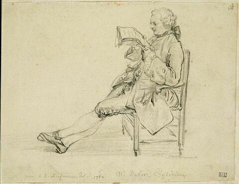 Portrait d'homme assis, tourné vers la gauche, lisant