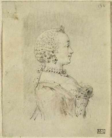 Profil de femme en buste, vue de profil à droite
