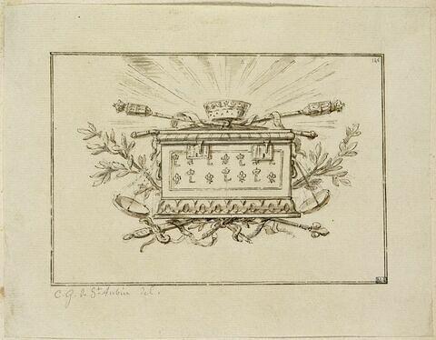 Trophée royal avec coffre, sceptres, épées, couronne et balance