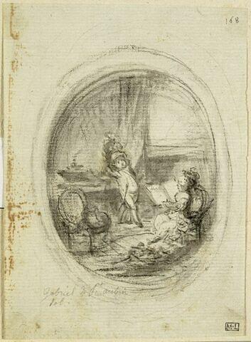 Dans un ovale, fillette lisant et garçonnet coiffé d'un casque