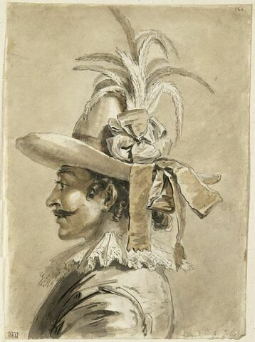 Homme en buste, coiffé d'un chapeau à plumes et à rubans