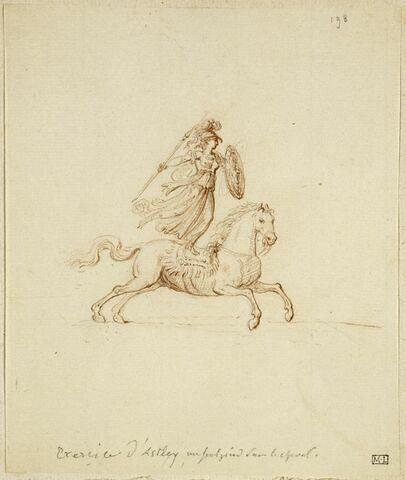 Minerve debout sur un cheval