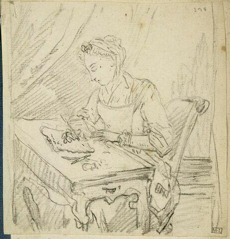 Femme assise dessinant
