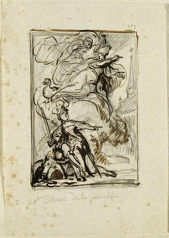 Un évêque avec un ange et une oie apparaît sur un nuage à une femme casquée