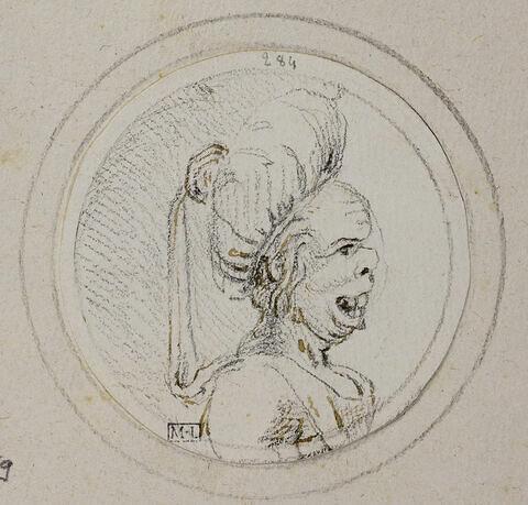 Caricature de femme en buste, de profil à droite