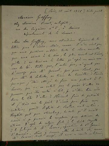 12 août 1838, Paris, à Geoffroy Dechaume