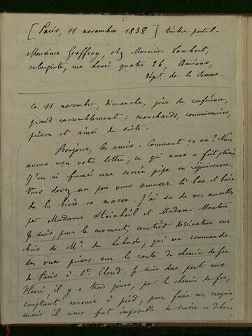 11 novembre 1838, Paris, à Geoffroy Dechaume